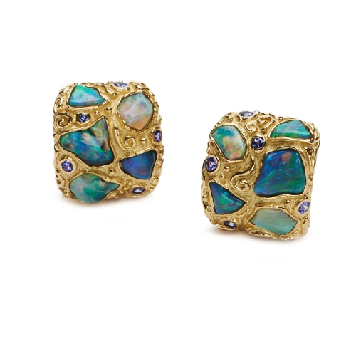 Australian Opal & Tanzanite Earrings