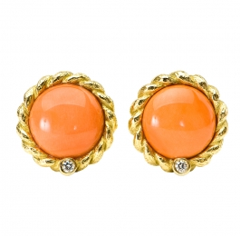Coral & Diamond Earrings