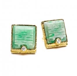 Carved Jade & Diamond Earrings
