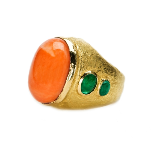 Williams Ring in Coral & Emerald