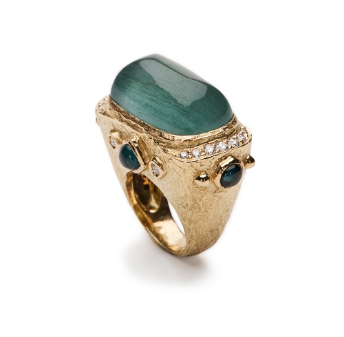 Aquamarine, Blue Tourmaline & Diamond Ring