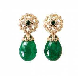 Emerald & Diamond Earrings with Briolette Emerald Drops