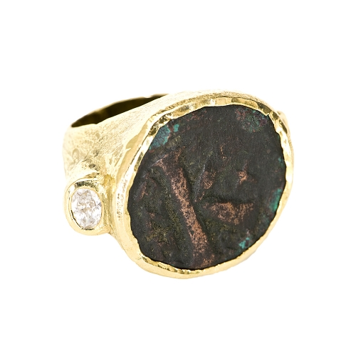 Ancient Coin & Diamond Ring