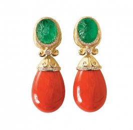 Carved Emerald & Diamond Earrings with Coral Drops