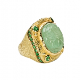 Carved Emerald & Tsavorite Garnet Ring