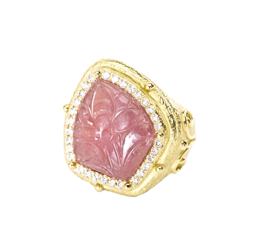 Carved Pink Sapphire & Diamond Ring