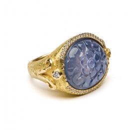 Carved Sapphire & Diamond Ring