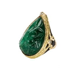 Carved Emerald, Carved Jet & Diamond Ring