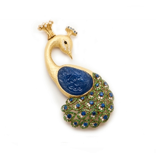 Carved Sapphire, Tsavorite & Diamond 'Raj'