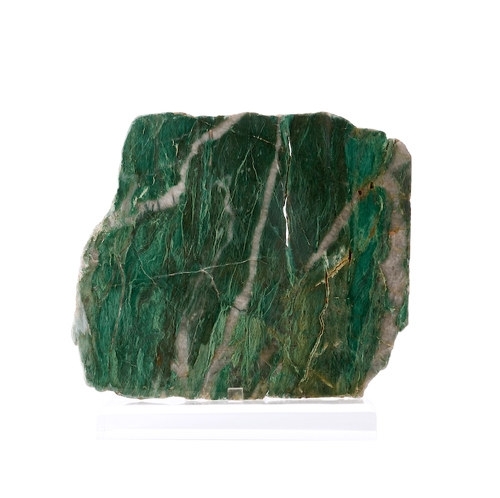 Polished Green Fuchsite Slab on Lucite Easel Polished_Green_Fuchsite_Slab_on_Lucite_Easel._Nugalline,_Australia_.jpg