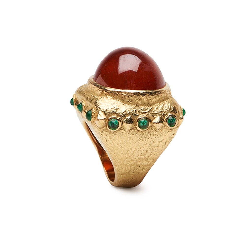 Dots and Diamonds Ring with Garnet and Emeralds R-1083-3073_Large_Dots_and_Diamonds_Ring_with_Mandarin_Garnet.jpg