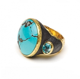 Chinese Turquoise, Ebony & Blue Zircon Ring