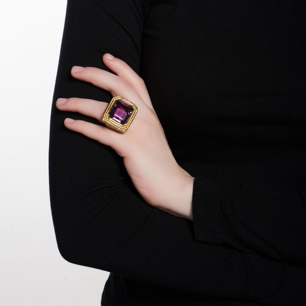 Faceted Amethyst & Diamond Ring R-1364-10374_on_model.jpg
