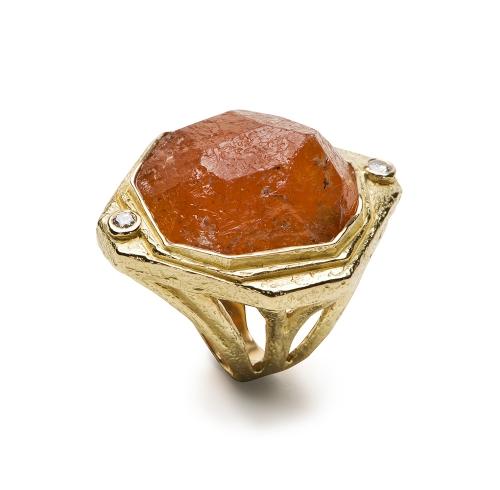 Hessonite Garnet & Diamond Ring