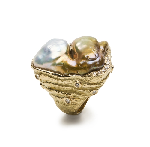 Free Form Freshwater Pearl & Diamond Ring