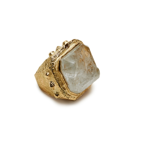 Carved Rock Crystal Ring