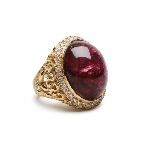 Grape Tourmaline & Diamond Ring