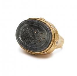 Gray Jade and Diamond Ring