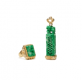 Carved Jade and Diamond Ring