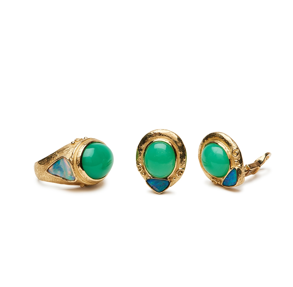 Chrysoprase and Opal Earrings R-1458-12588_E-1498-12588_18k_yg_Chrysoprase_and_Lightning_Ridge_White_Opal_Ring_and_Earrings.jpg