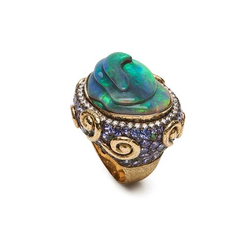 Opal, Tanzanite, Tsavorite, and Diamond Ring