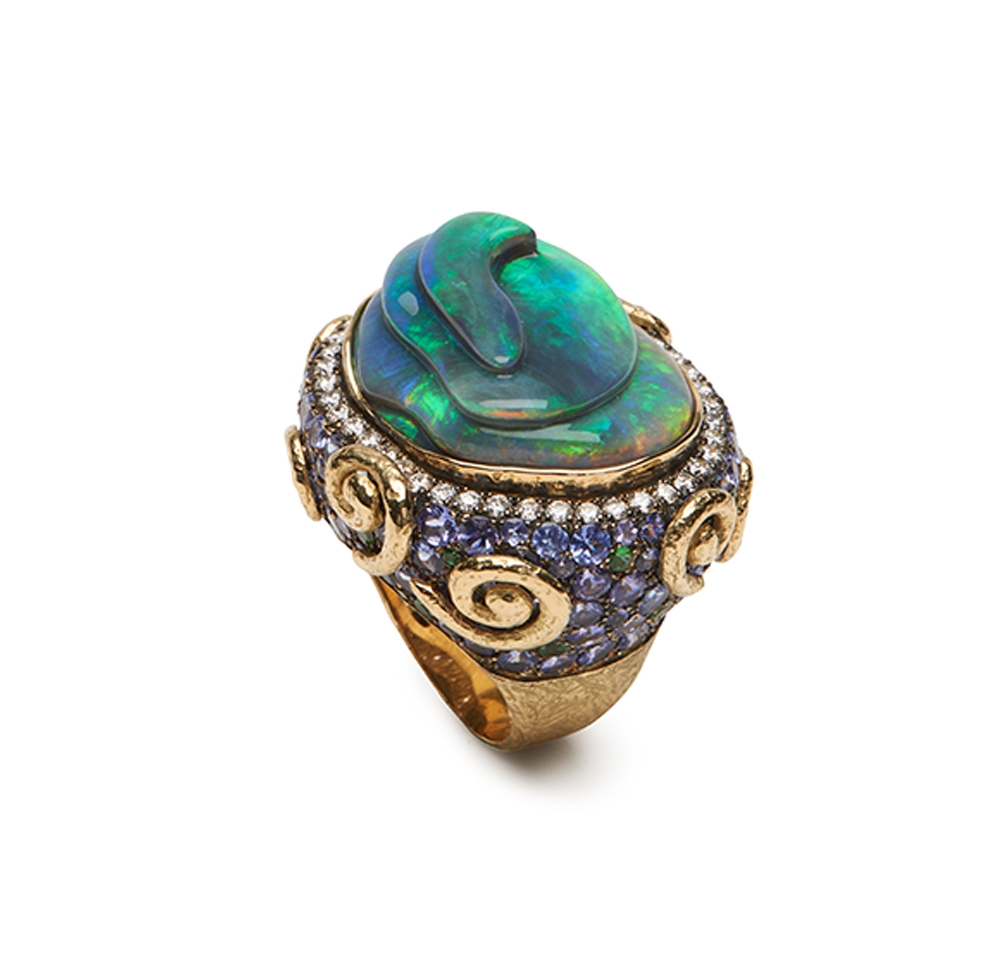 Opal, Tanzanite, Tsavorite, and Diamond Ring R-1468-12722_Carved_Black_Opal,_Tanzanite,_Tsavorite,_and_Diamond_Ring.jpg