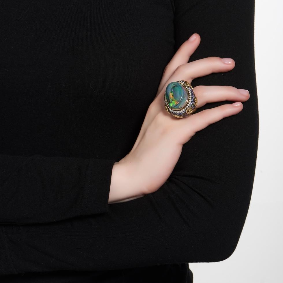 Opal, Tanzanite, Tsavorite, and Diamond Ring R-1468-12722_on_model.jpg