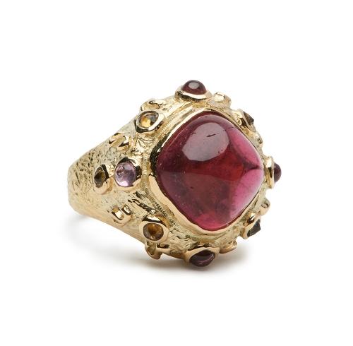 African Rubellite Pink Tourmaline Ring