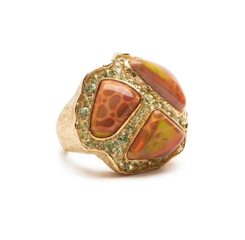 Ethiopian Opal and Garnet Ring