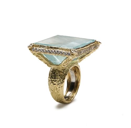 Aqua Prism & Diamond Ring