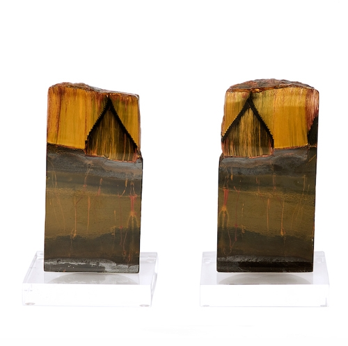 Pair of Marra Mamba Tigers Eye Cores on Lucite Bases Unusual_Bookmatched_Pair_of_Marra_Mamba_Tigers_Eye_Cores_on_Lucite_Bases,_Mount_Tom_Price,_Western_Australia.jpg