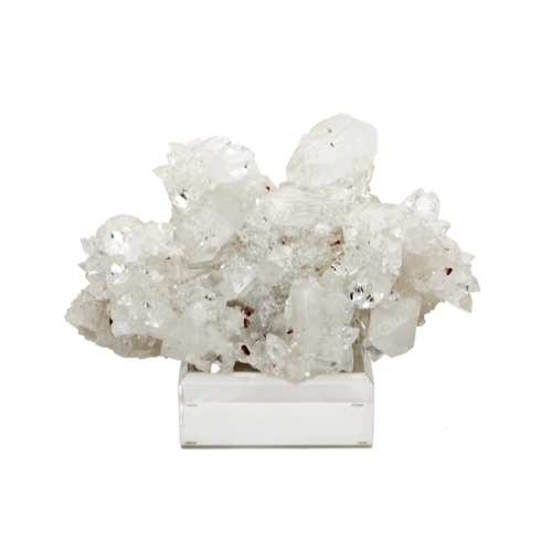 White Apophylite & Haulandite Specimen on Lucite Base