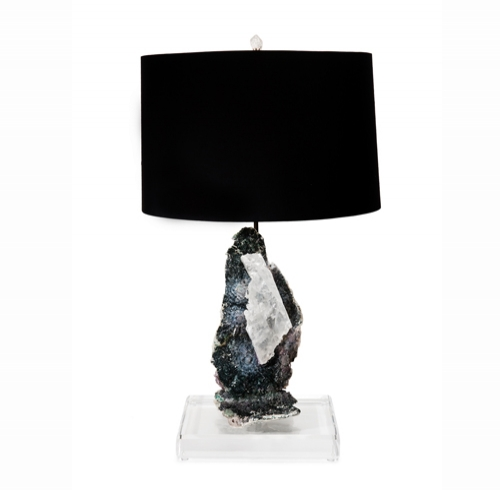 Amethyst & Selenite Composite Specimen Lamp on Lucite Base