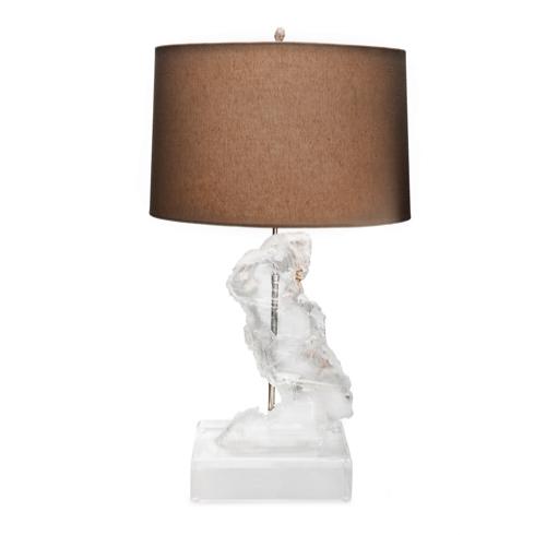 Selenite Specimen Lamp on Lucite Base